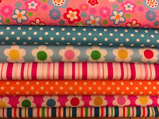 Fat Quarters Bundles 7 x Flowers, Spots & Stripes Polycotton Fabric Pink Retro