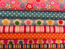 Fat Quarters Bundles 7 x Flowers, Spots & Stripes Polycotton Fabric Pink Retro