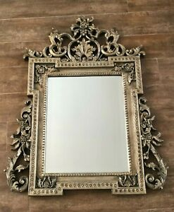 "Bettis Brooke Mirror 29 x 38"" Allegro gold Hollywood Regency Gilt scroll wall"