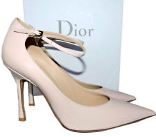 Christian Dior Ankle Strap Pointy Toe Pink Patent Leather Pumps Shoes  36.5