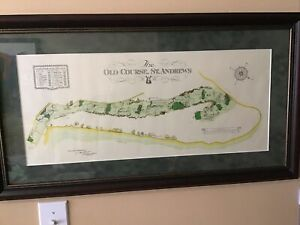 FRAMED ST. ANDREWS GOLF 'THE OLD COURSE' PRINT SURVEYED 1924 Alister MacKenzie
