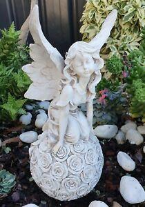 Fairy Slitting on Rose Ball Ornament Statue Figurine Sculpture Home Décor 32 cm