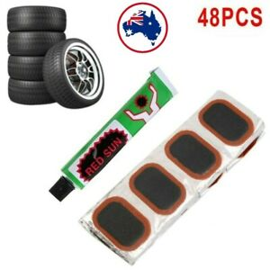 New Black 48pcs Bike Tire Bicycle Kit Patches Repair Glue Tyre Tube Rubber Punct