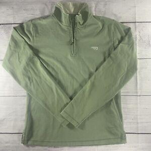 Patagonia Small Quarter Zip Shirt Womens Long Sleeve Logo Stretch Olive Green