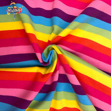 Rainbow stripes DIY cotton Lycra knitted quilt quilted baby shirt fabrics