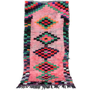 Vintage runner rug Beni Ourain authentic Moroccan Berber boujaad rug 5.3 X 3 ft