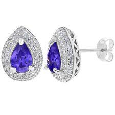 925 Sterling Silver Purple Clear Cubic Zirconia Tear Stud Earrings