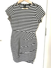 Portmans Black and White stripe waisted jersey dress S8