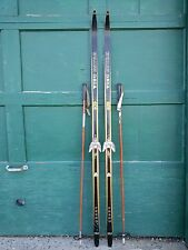 "VINTAGE Wooden 75"" Long BLACK Skis Signed VISU and Have Bamboo Poles"