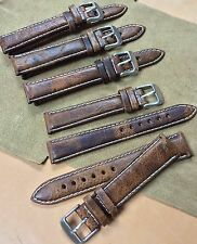 Size 20 x18mm Brown Distressed Aged Leather Padded Watch Strap/Band S-13