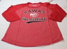Atlanta Hawks NBA Women's Red 3/4 Sleeve Raglan Triblend Shirt Size Large New