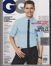 "GQ Magazine DECEMBER 2013, MATTHEW McCONAUGHEY On Cover ""MEN of the YEAR ISSUE""."