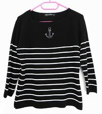 PULL MARIN NOIR ET BLANC. ANCRE. STRASS. DEBBIE MORGAN. TAILLE 38 / 40