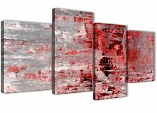 Large Red Grey Painting Abstract Living Room Canvas Decor - 4414 - 130cm