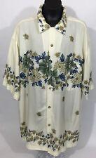 Bamboo Cay Mens Fine Resort Wear Shirt - Floral Pattern Hawaiian Front Button L