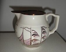 "Vintage Gray's Pottery hand-painted lustre creamer white purple ship 4 1/2"" high"