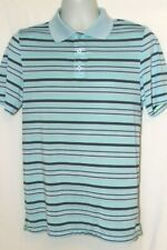 New Balance Active Polo Small Blue Striped Short Sleeve 100% Polyester