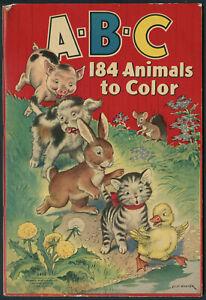 "UNCOLORED ""A-B-C 184 Animals to Color"" #3498 Merrill 1938 (7294)"
