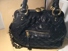 """Marc Jacobs Black Leather Quilted Chain Strap """"Stam"""" Bag $1395"""