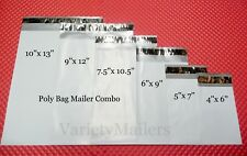 150 Poly Bag Postal Envelope Mailer Variety ~ 25 each of 6 Sizes ~ Self-Sealing