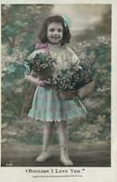 1909 REAL PHOTO HAPPY YOUNG GIRL FLOWERS POSTCARD message re Port Pirie STRIKE