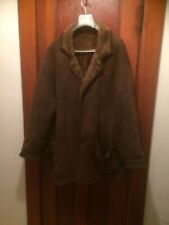 Men's Chocolate Brown Leather Fur Lined Shearling Winter Coat