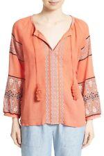 NWT- Joie Nelida Embroidered Gauzey-Cotton Tunic Blouse, Blood Orange - Small