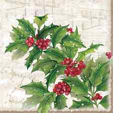 Christmas 20 Paper Lunch Napkins SPRIG OF HOLLY Red Green Winter Poinsettia