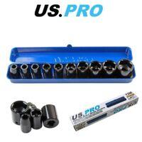 "US PRO 10PC 1/2"" DR Shallow Impact Metric Socket Set 9 - 27mm 1396"