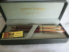 Pierre Cardin Ball Point Pen & Pencil Set Burgundy & Gold With Case