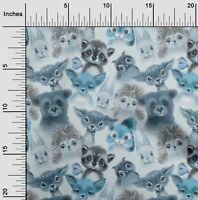 oneOone Baumwoll-Popeline Stoff Tiere Aquarell Steppverbrauchsmaterialien-teC
