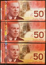 Lot of 3x 2004 Bank of Canada $50 Fifty Dollar Banknotes