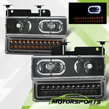 1988-1998 Chevy C/K 1500/2500/3500/GMC Sierra Halo Black Headlights Bumper Lamps