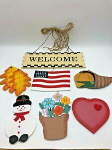 Interchangeable Hanging Country Gingham Welcome Seasonal Sign Front Door Decor