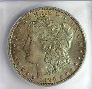 1896 MORGAN SILVER DOLLAR ICG MS 65 NICE IRIDESCENT TONING!! LISTS FOR $230!