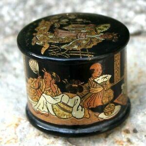 ancienne mini boite en carton bouillie a décor japonisant époque napoléon 3