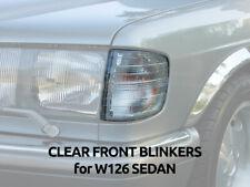 Mercedes W126 CLEAR BLINKERS INDICATORS / TURN SIGNAL Lights SEDAN pair CHROME