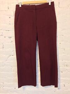 J Crew Patio Pants Cropped Straight Leg Cotton Stretch Burgundy size 2