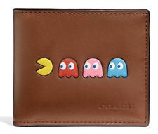 Coach PAC-MAN Motif ID Billfold Saddle Brown Leather Wallet - F75911 -