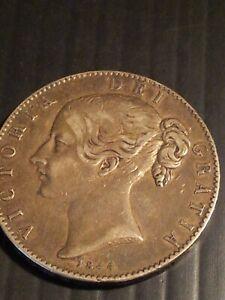 QUEEN VICTORIA SILVER CROWN 1844 CINQUEFOIL STOPS (UNITED KINGDOM)