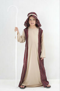 CHILDRENS SHEPHERD CHRISTMAS NATIVITY FANCY DRESS COSTUME OUTFIT WITH CROOK