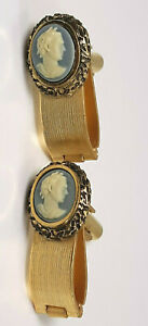Vintage Dante Gold Metal Plastic Julius Caesar Cameo Fold Over Cuff Links