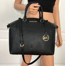 NWT Michael Kors Black Large Satchel Bag Handbag Pebbled Leather Purse Tote $428