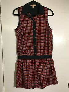 Michael Kors Size M red and navy check Play Suit button up short sleeveless