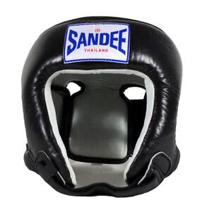 Sandee Open Face Leather Headgear - Black/White