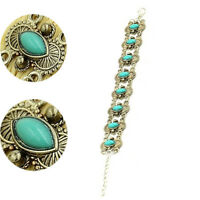 Women Retro Vintage Natural Turquoise Tibetan Silver Bracelet Bangle Cuff Chain