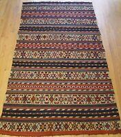 "Caucasian Kilim 1850's Antique Hand Woven Wool Oriental Rug 4'3"" x 7'6"""