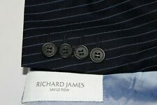 RICHARD JAMES 40R Suit Navy w/ Blue Stripes Wool Dual Vent 2B - Pants 32 X 30