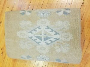 Masterpiece Vintage 1980-1990's Muted Natural Dye Wool Pile Oushak Rug 7x10ft