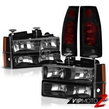 1992 1993 Chevrolet Suburban K1500 K2500 C1500 Black Headlights Smoke Tail Lamps